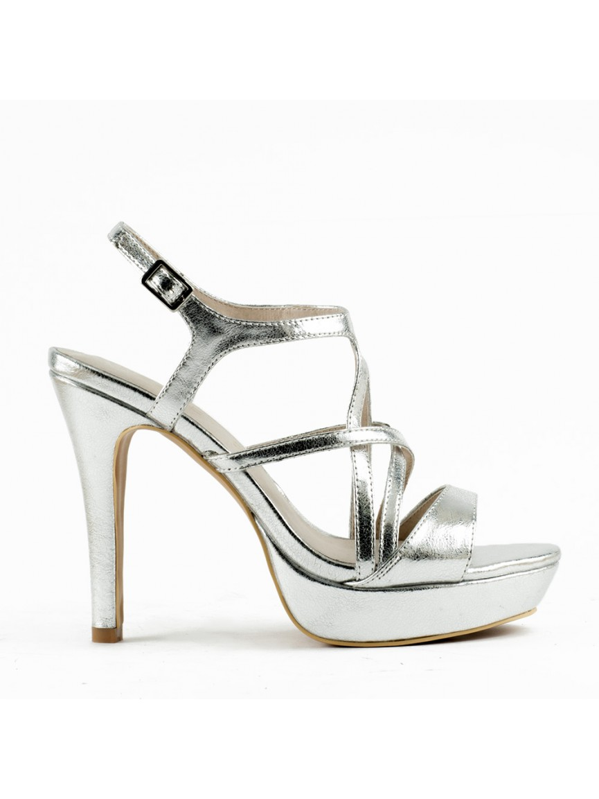 With Silver Sandals Thin Crossed Metallic Straps FKul1Jc3T