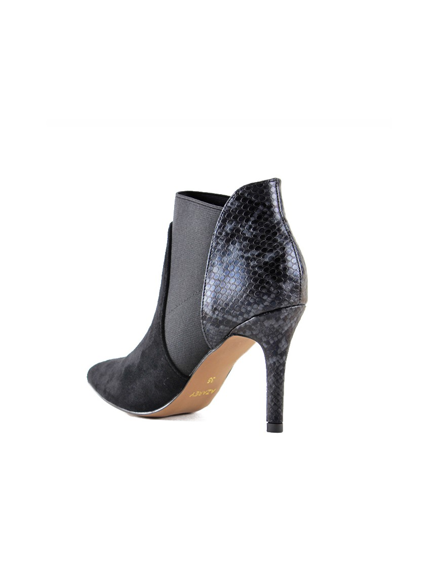 Snake-print taupe booties with elastic side tabs