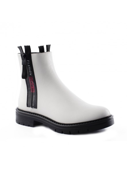 White urban ankle boots